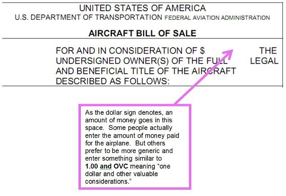 Aircraft Bill Of Sale  Faa Form   Chamberlain Aviation Sales